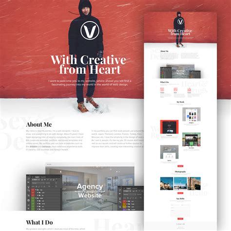 download free website design layout psd clean personal website design template free psd download