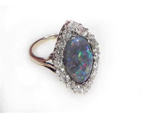antique engagement ring opal and 5ct black opal