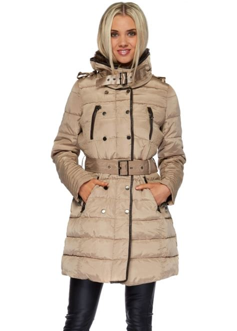 Designer Quilted Coats by Beige Faux Fur Collar Belted Quilted Coat Quilted