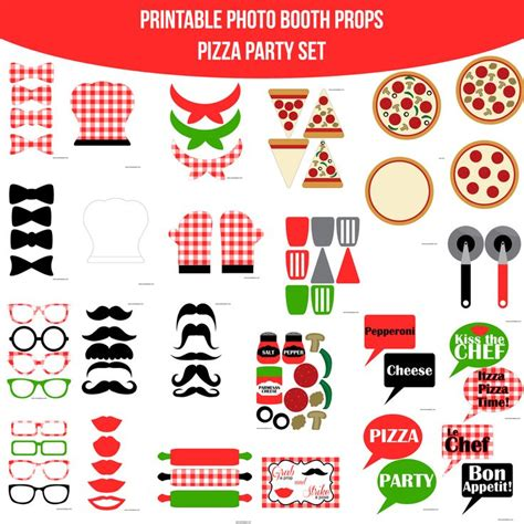 download themes for photo booth instant download pizza party red printable photo booth set