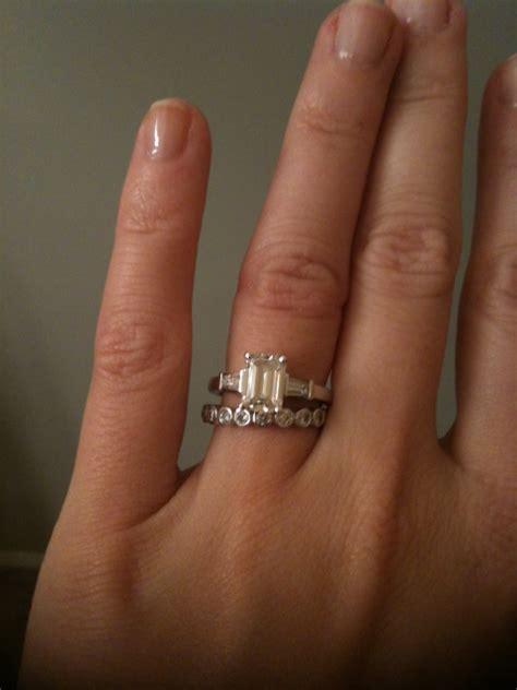 emerald cut e ring wedding band help weddingbee
