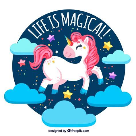 fondo de unicornio feliz brillante descargar vectores gratis fondo de unicornio feliz con nubes y texto quot la vida es