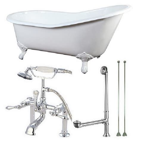 cast iron bathtub faucets aqua eden slipper 5 ft cast iron clawfoot bathtub in white with faucet combo in white feet