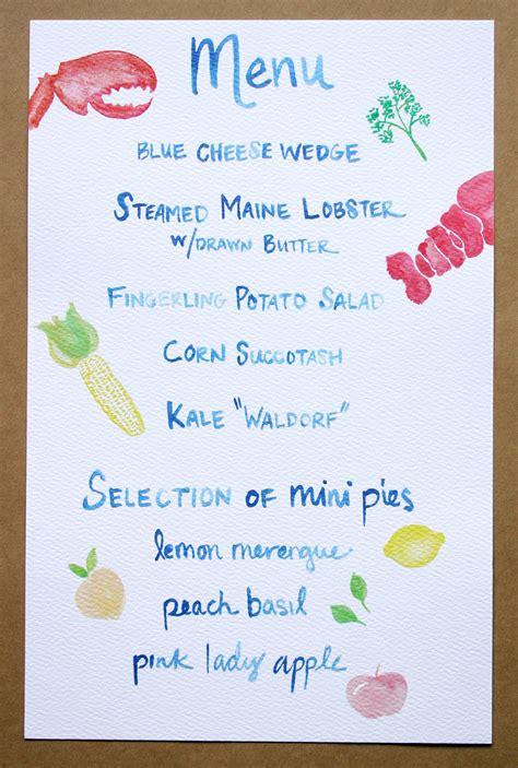Birthday Menu Card Designs Watercolored Summer Party Invitation Menu Bar Card And