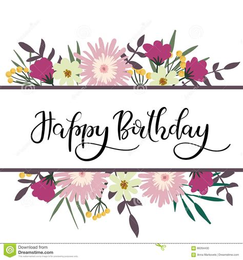 Spring Wreath Ideas happy birthday hand lettering greeting card with floral