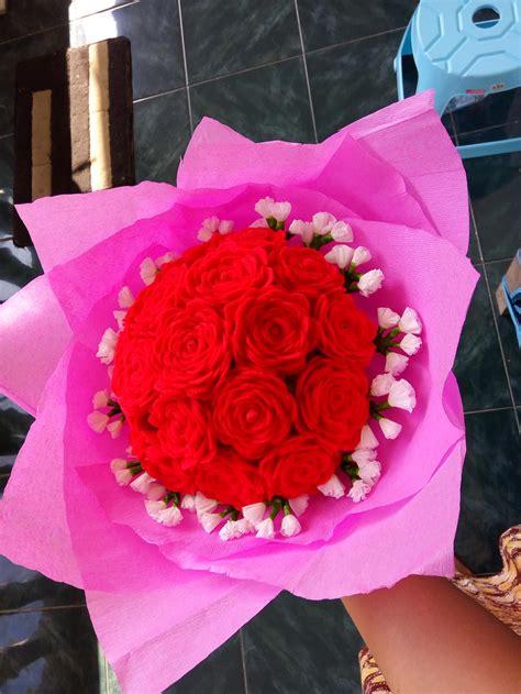 Bunga Flanel Besar jual buket bunga mawar flanel handmade artifical roses