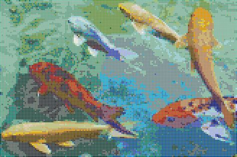 mosaic koi pattern rainbow koi framed mosaic wall art