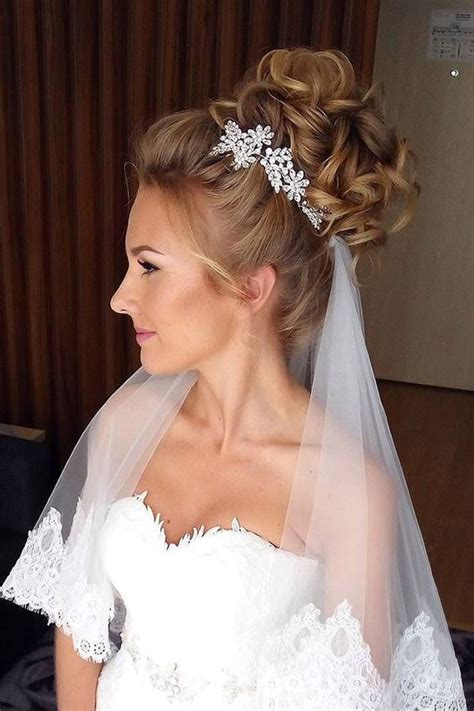 wedding hairstyles 2018 with veil nail art styling