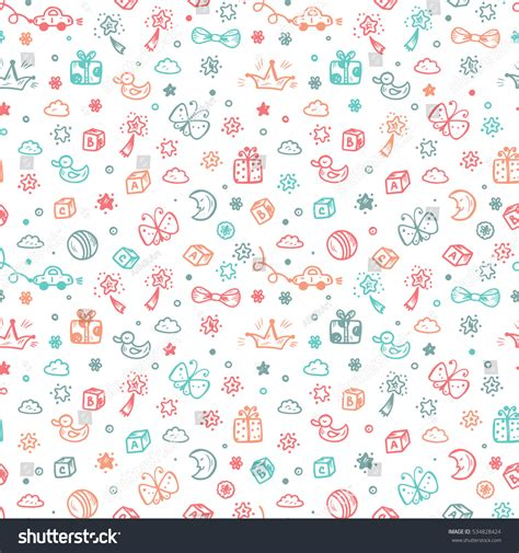 seamless doodle pattern free vector vector seamless pattern doodle toys kids stock vector