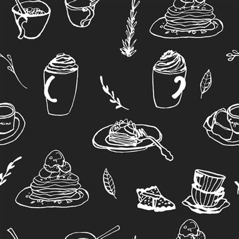 pattern coffee vector hand drawn coffee and cake seamless pattern vector 01