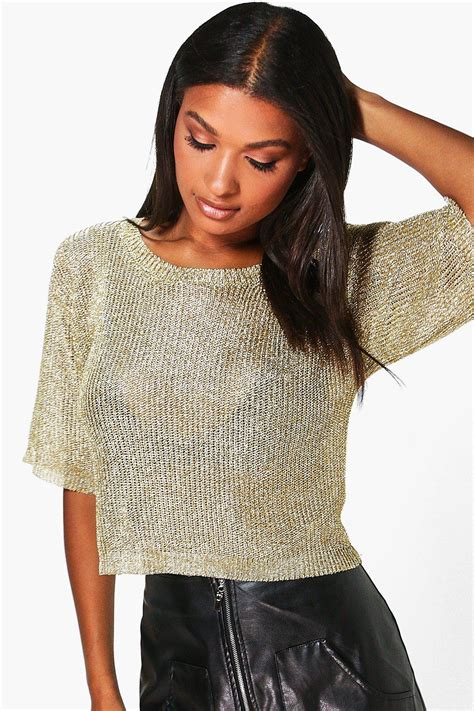 Sleeve Knit Top boohoo womens sleeve metallic knit top ebay