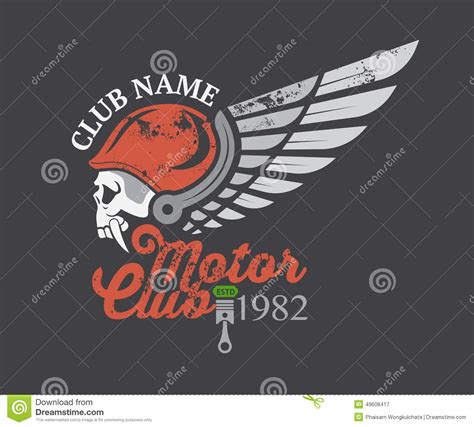 Bike Sticker Work Photos by Motor Skull Sticker And Club And Label Stock Vector