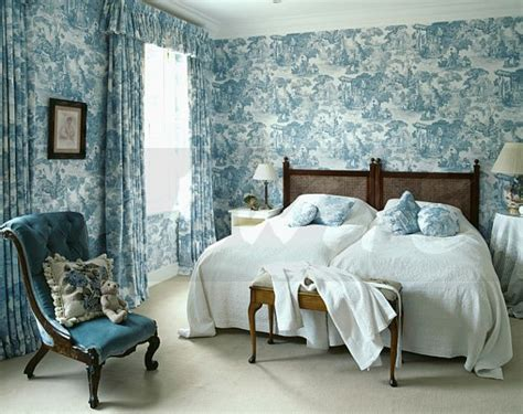 wallpaper matching curtains image blue white toile de jouy wallpaper with matching