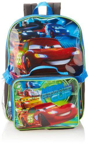 Lunch Box Set Disney Cars disney boys 2 7 cars neon backpack with lunch set royal one size disney http www
