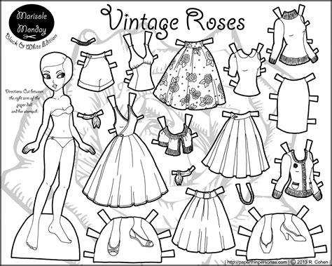 vintage coloring pages pdf paper dolls coloring pages marisole monday vintage roses