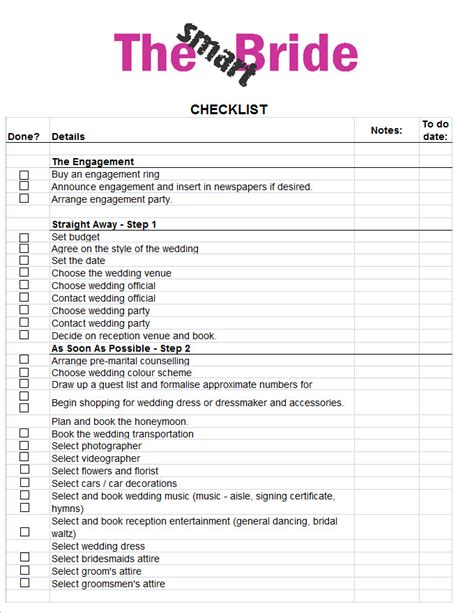 wedding list templates wedding checklist template 20 free excel documents