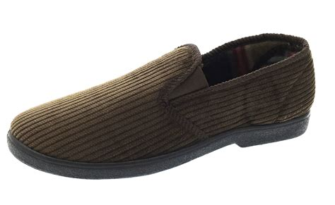 mens lined slippers mens luxury fleece slippers warm lined slip on gents flat