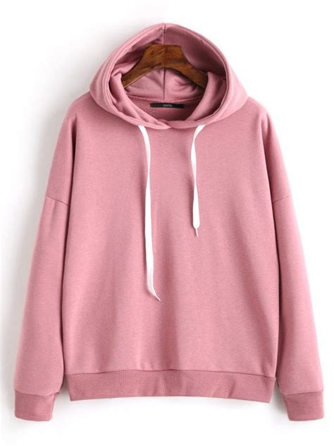 Drop Shoulder Plain Sweatshirt drop shoulder plain drawstring hoodie cameo sweatshirts m