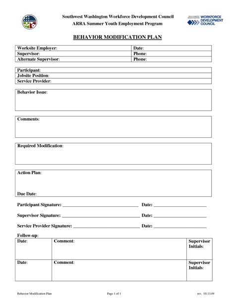 Behavior Modification Plan Template by 14 Best Images Of Behavior Modification Worksheets