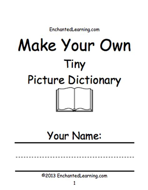 make your own templates make your own tiny picture dictionary a book to