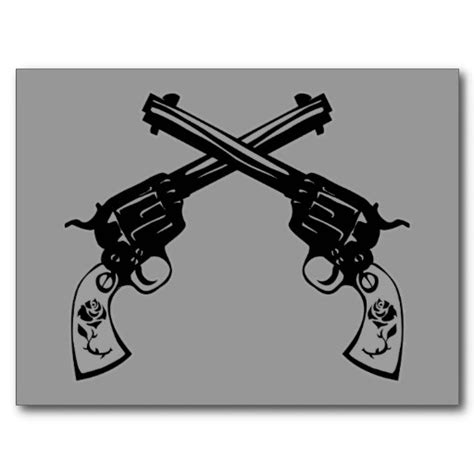 crossed revolver tattoos retro crossed pistols postcard ooh i really really want