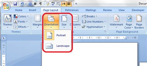 landscape layout microsoft word 2010 portrait and landscape orientation in word and excel