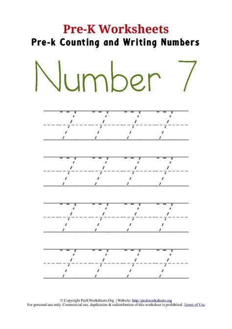 number 7 worksheets writing number 7 worksheet pre k worksheets org