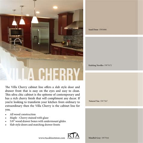 paint colors with cherry cabinets color palette to go with our villa cherry kitchen cabinet