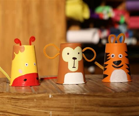 Paper Cup Animals Craft - recycling paper cups for crafts
