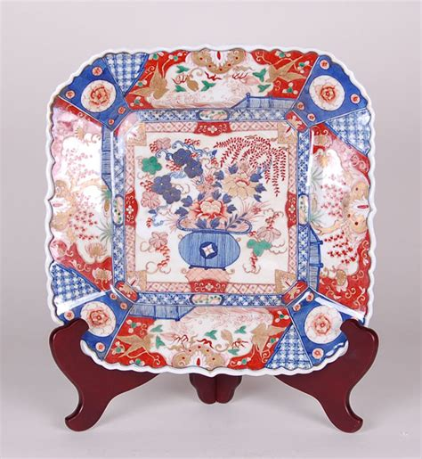 Reproduction Square Imari Porcelain Charger With Flower Vase