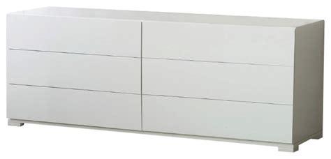 West Elm Duvet Roma Modern White Lacquer Double Dresser Modern Dressers