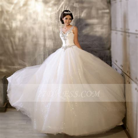 Floor length Straps Elegant Ball Gown Wedding Dresses 2016