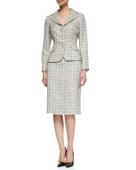 unger tweed jacket pencil skirt suit in gray lyst