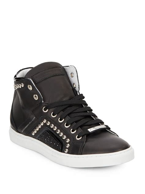 alessandro dell acqua studded high top leather sneakers in