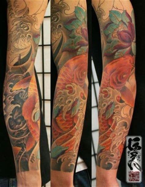 Japanese Tattoo Good Vs Evil | sleeve tattoo not koi but good vs evil tattoo koi