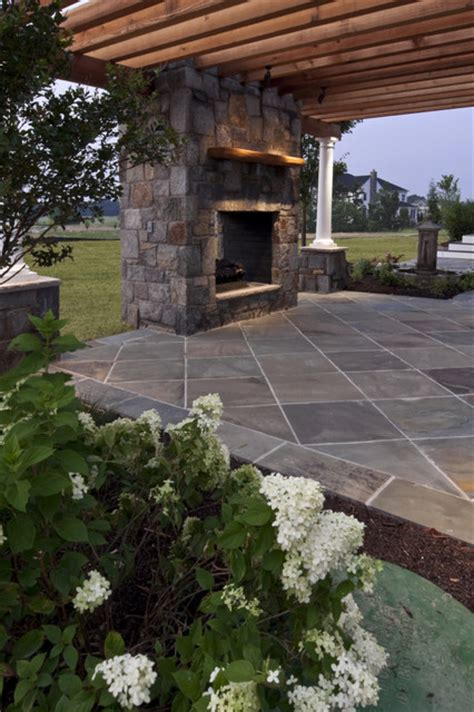 flagstone patio with fireplace traditional patio