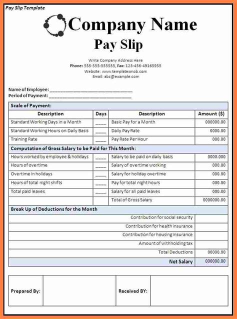 template for a payslip 3 company payslip format excel salary slip