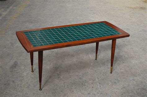 mid century modern turquoise tile top coffee table at 1stdibs