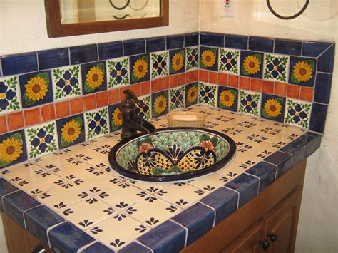 Talavera sink showing tiled backsplash mexican home decor gallery mission accesories copper