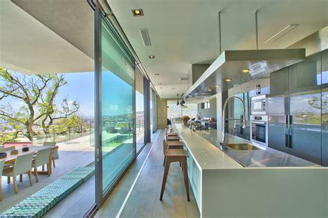 kitchen island breakfast bar glass sliding doors house