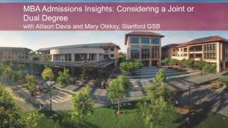 Mba Joint Degree Stanford by Mba Admissions Insights Considering A Joint Or Dual