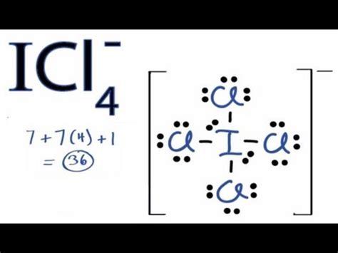 Смотреть онлайн видео ICl4- Lewis Structure - How to Draw ... Xef3 Molecular Geometry