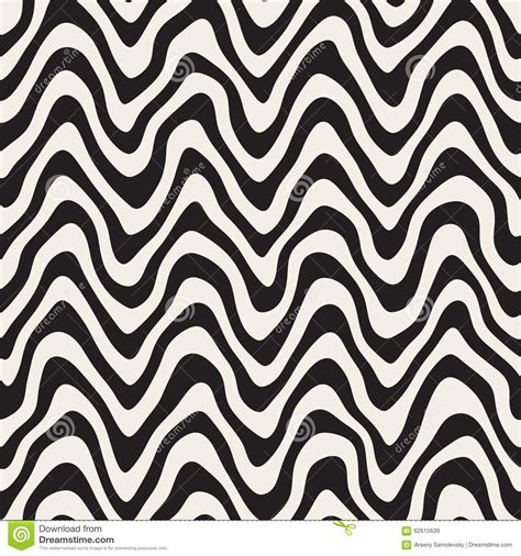 black and white wavy pattern vector seamless black and white rounded rough hand painted