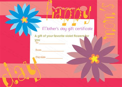 greek anemone mother s day gift certificate template