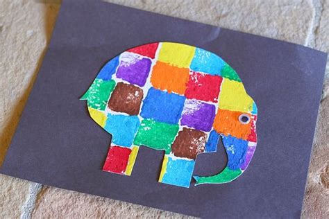elmer elephant colours buggy sponge painted elmer the elephant elmer the elephants for kids and preschool