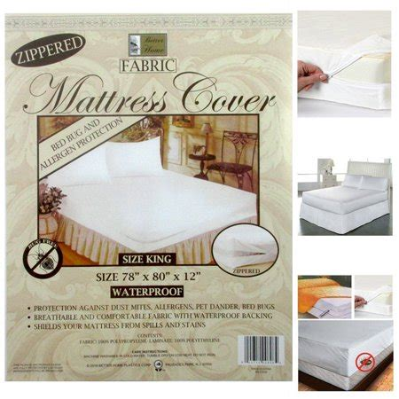 king size fabric zippered mattress cover waterproof bed bug dust mite protector walmartcom