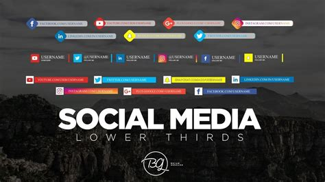 Social Media Lower Thirds Free Download Free After Effect Template Youtube Social Media After Effects Template Free