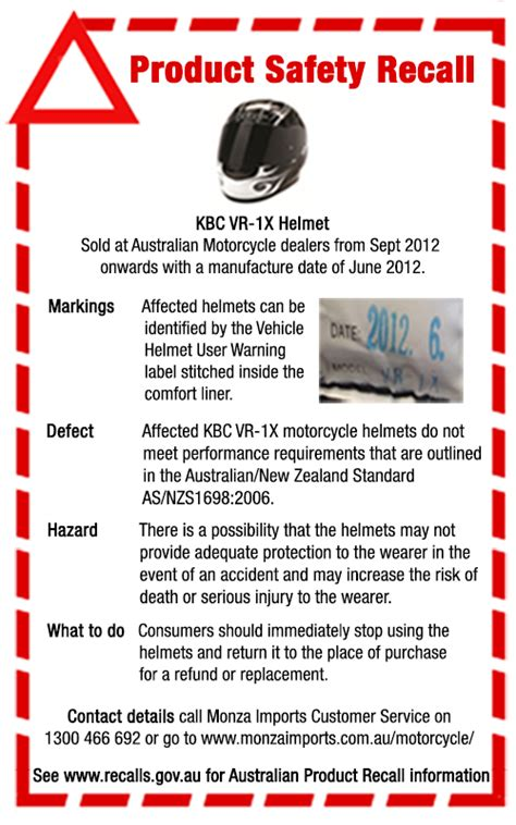 product safety recall kbc vr 1x helmet cycleonline com au