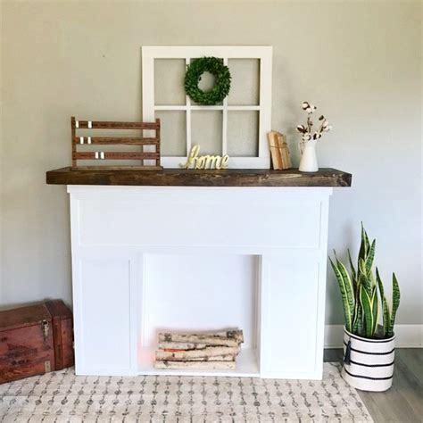 diy faux fireplace  stained mantel