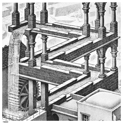 Escher Drawings Waterfall